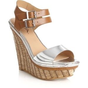 Metallic Silver + Straw Wedge